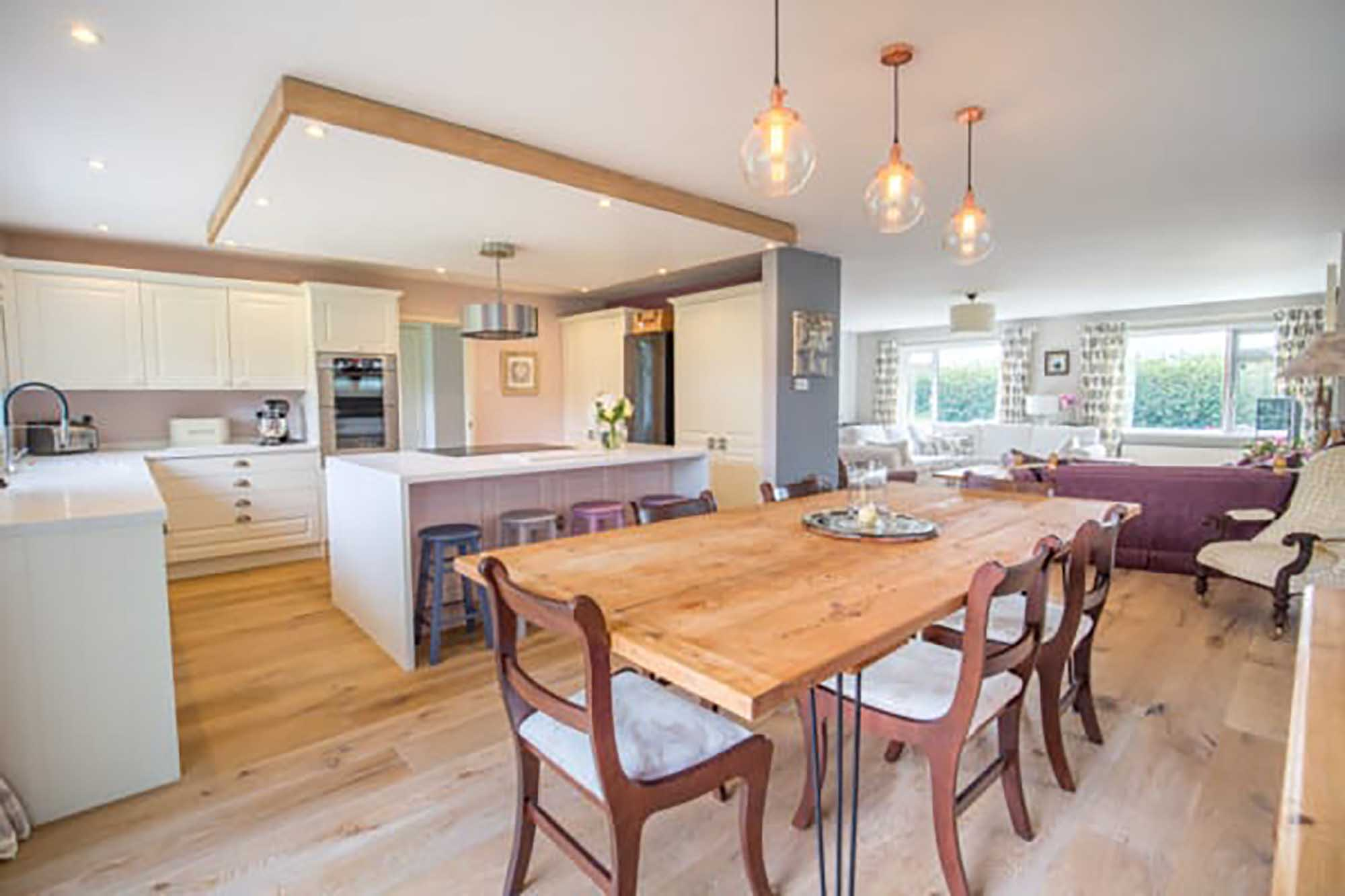 Wow factor- refurbished open plan light filled single storey house in very private garden. Low Ham, Langport
